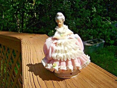 Vintage Lace Woman Figurine Dresden Germany