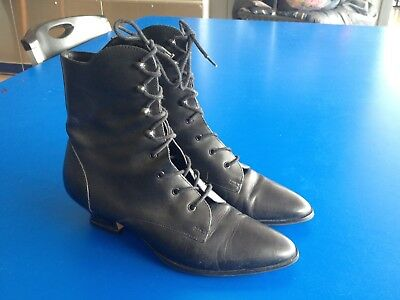Vtg 1980s Black Leather Witch Granny Boots SZ 6.5 7