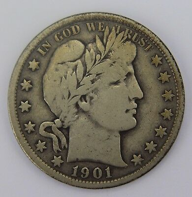 1901-P Barber Half Dollar 90% Silver Old US Coin T042