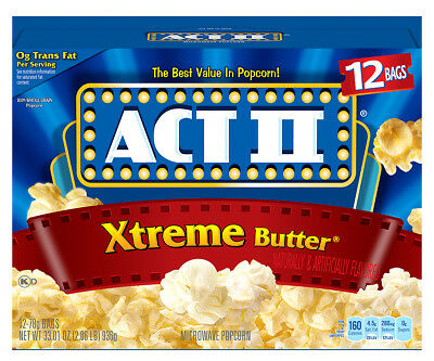 New Sealed Act Ii Xtreme Butter 12 Bags  33.01 Oz Microwave Popcorn