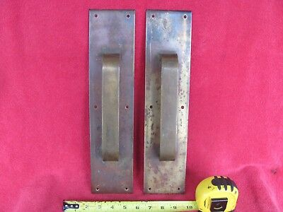 Vintage Pair Brass Door Pull Knob Push Handle Industrial Architecture Art Plate
