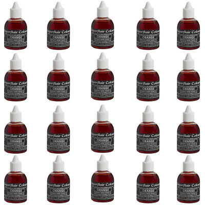 50 x Sugarflair ORANGE Edible Food Colour Liquid For Airbrushing Cake Decorating