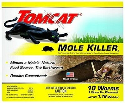 TOMCAT MOLE KILLER 10 WORM Shaped Baits Pest Rodent Control