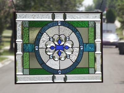 """8 Times the Jewels-Beveled Stained Glass Window ≈23 ¼ """"x 17 1/2""""(59.5 x 44.5cm)"""