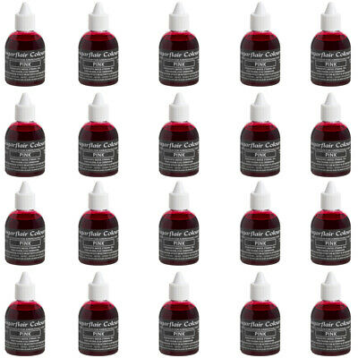 20 x Sugarflair PINK Edible Food Colouring Liquid for Airbrush Cake Decorating