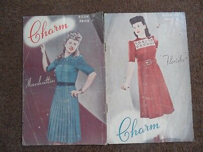 Original vintage 1940s booklet of 4 dress knitting patterns from New Zealand-