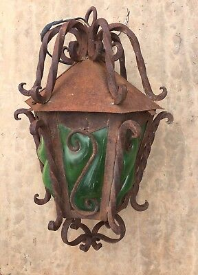 Vintage Hanging Light Fixture Mexico Green Blown Glass&rusty Iron Spain Revival
