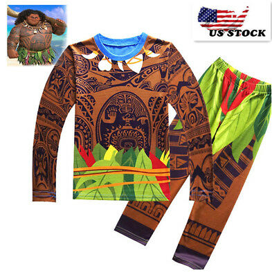 2018 Boys Moana Maui Pajamas Costume 2 Pieces Sets Cosplay T-shirt Outfits K95