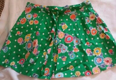 Genuine vintage girls green & floral skirt 1960s age 6-8 Confezioni di lussof