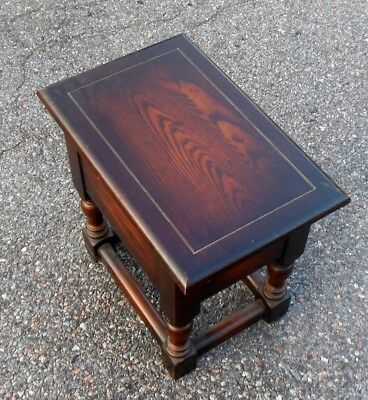 Vtg Joint BENCH Joint STOOL Table Hinged Storage TRUNK Jacobean Style Oak Pub