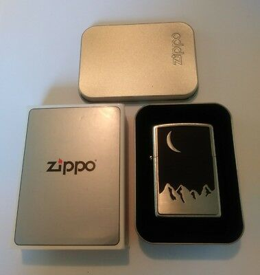 Marlboro Moon Over Mountains Zippo Lighter In Tin 2000 New Never Used!