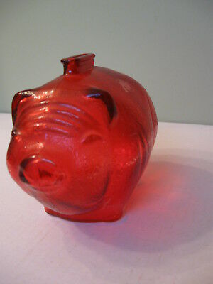 """Vintage Anchor Hocking Glass Red  Painted Pig Piggy Bank 6"""" long x 5"""" x 4"""""""