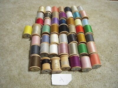 Wooden Spool thread lot of 50 sewing crafts A