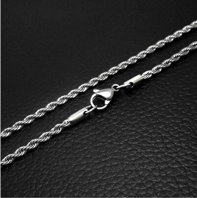 "3mm 316L Mens Women Stainless Steel Rope Necklaces Chain 24"" For Pendant Gift ST"