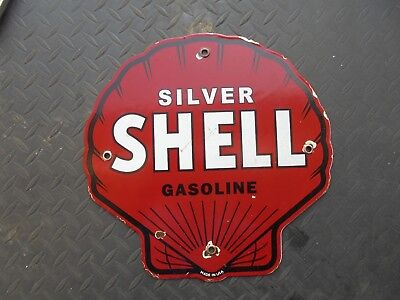 """Vintage Silver Shell porcelain gas pump sign clearly marked """"MADE IN USA"""""""