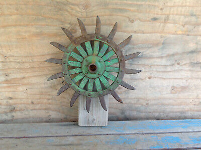 Cool Antique Cultivator Hoe Wheel mounted on Wood Yard Art