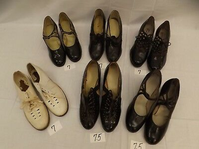 Lot of 6 Pr Vtg 1930s 40s Womens Leather Shoes Sz 7-7.5 Oxfords Mary Jane Cuban
