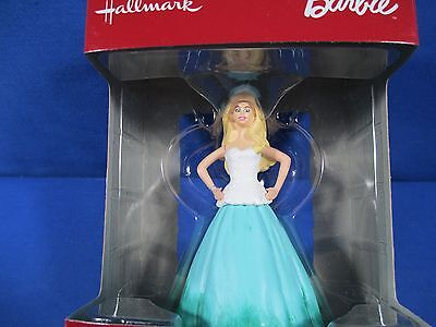 2016 Hallmark Christmas Ornament Holiday Barbie Green White Ball Gown *new*