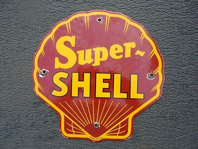 """Vintage Super Shell porcelain gas pump sign garage clam """"MADE IN USA"""" can lube"""