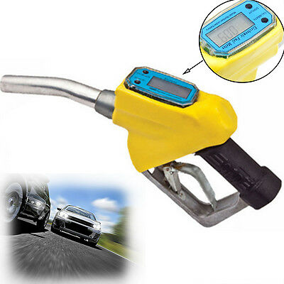 Fuel Gasoline Diesel Petrol Oil Delivery Gun Nozzle Dispenser Digital Flow Meter