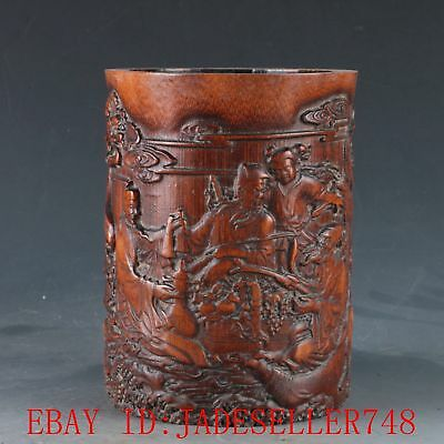 Chinese Bamboo Pole Hand Carved the Eight Immortals & crane Brush Pot DY352