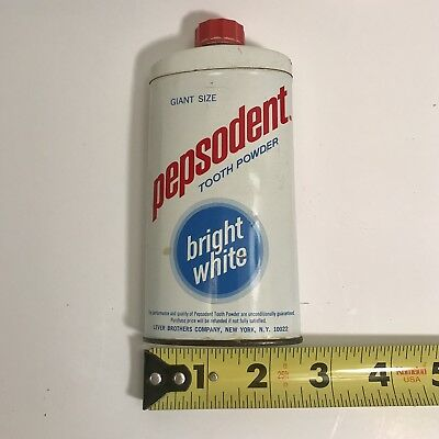 Pepsodent Tooth Powder White Tin Giant Size Bright White with Red Screw Lid Cap