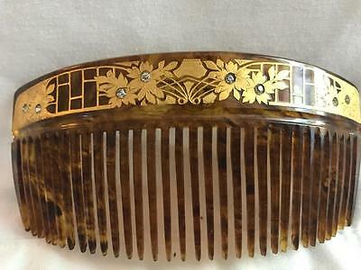 Vtg Art Deco Faux Tortoise Shell Hair Comb w/ Rs SOLID Gold Floral Filigree