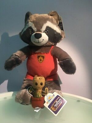 """build a bear Guardians Of The Galaxy 17"""" Rocket & 5"""" Baby Groot Lot Of 2"""