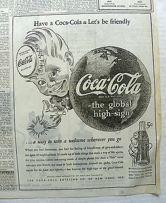 "1944 (Jan. 6) New York Times Newspaper With ""coca-Cola ~ Sprite-Boy"" Ad."