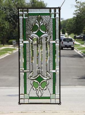 """•GO GREEN •HUGE-Beveled Stained Glass Window Panel •42 5/8""""x18 3/8""""(108x48 cm)"""