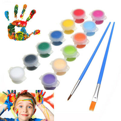 12 Colors Acrylic Paints With 2 Brushs Set For Graffiti Wall Art Painting DIY