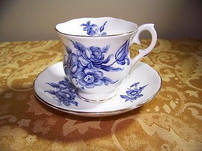 Vintage Crown Staffordshire Teacup Tea Cup Saucer Blue Roses Floral Porcelain