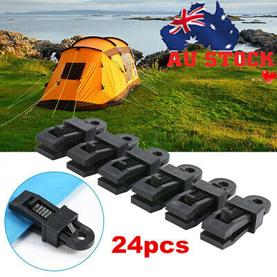 12 x Awning Clamp Tarp Clips Snap Hangers Tent Camping Survival Tighten Tool