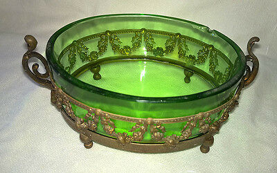 Antique Victorian Ormolu Bronze Dish Green Glass French Garlands Floral Swags