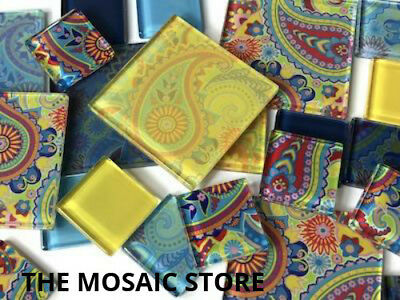 Coloured Paisley Themed Handmade Tile Set - Art Craft Mosaic Supplies