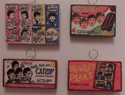 The Beatles Candy Yeah Yeah Yeah Set Of 4 Mini Christmas Ornaments Gift Tags