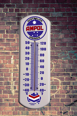 Vintage Ampol Metal Wall Thermometer Retro  Vintage Man Cave Outdoor Indoor Wall