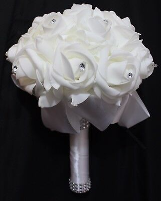 White Satin Romantic Wedding bouquet Bride bridesmaid