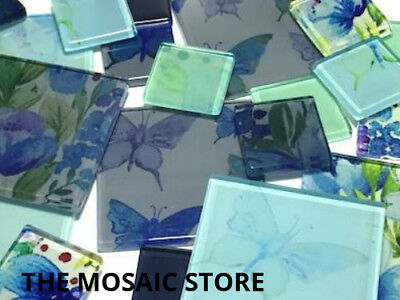 Garden Butterfly Themed Handmade Tile Set - Mosaic Art Craft Tiles Supplies