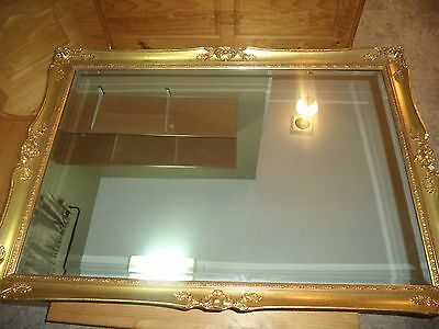 """Vintage Victorian Style Gold Gilt Wood/gesso Frame Wall Mirror 47"""" X 33"""""""