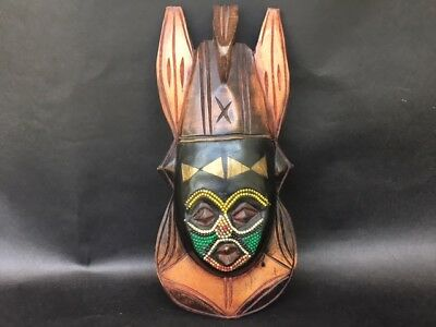 African Multi Color Hand Carved and Painted Beaded Wood Native Mask