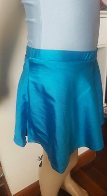 MakAmy Girl Figure Ice Skating Full Skirt electric Blue spandex sz10 BNWT 38