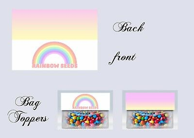 Rainbow, Rainbow favors, Birthday, Bag Toppers, invitations