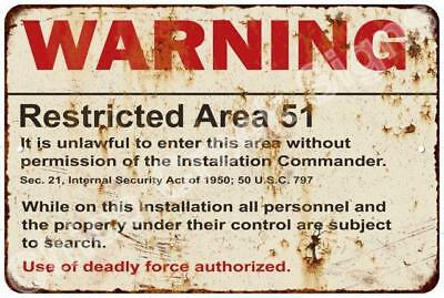 Warning Restricted Area 51 Rust Vintage Look Metal Sign 8x12 Décor Gift 8124861