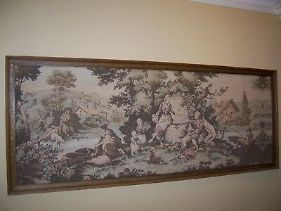 Large Antique Tapestry Hand Made With Timber Frame