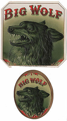 Lot of 2 BIG WOLF Cigar Box Chromolighography Labels - c1910 Embossed