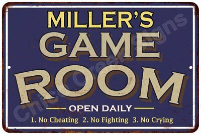 MILLER'S Blue Game Room Sign Vintage Look 8x12 Chic Metal Wall Décor 8126582