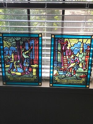 Two Vintage German Stained Glass