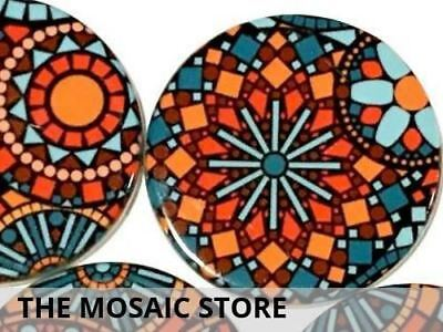 Set of 2 Decorative 5cm Ceramic Circles - Mosaic Tiles Supplies Art Craft