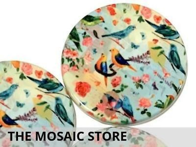 Set of 2 Decorative 5cm Ceramic Circles - Mosaic Art Craft Tiles Supplies
